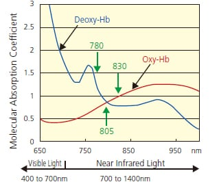 Fig.2 Absorption Spectrum of Hemoglobin