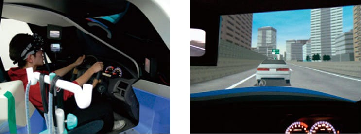 Brain function measurement region and evaluation scenes using the driving simulator