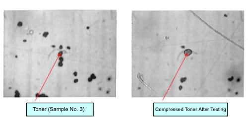 Fig. 1 Photos of Toner and Compressed Toner after Testing