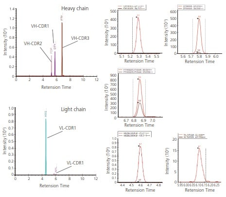 Fig. 2 Detection of Trypsin Fragments Containing CDR1-3 Using Standard Monoclonal Antibodies (6E10) Subjected to Trypsin Digestion (Data Analysis by Skyline)
