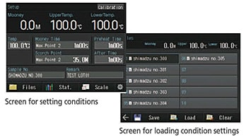 Screen for setting conditions/Screen for loading condition settings