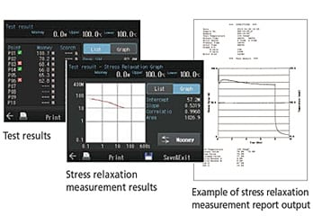 Test results/Stress relaxation  measurement results/Example of stress relaxation  measurement report output