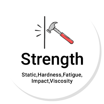 Strength Static,Hardness,Fatigue,Impact,Viscosity