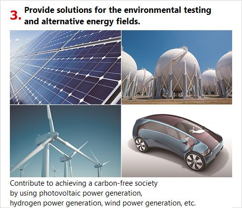 Provide solutions for the environmental testing and alternative energy fields.