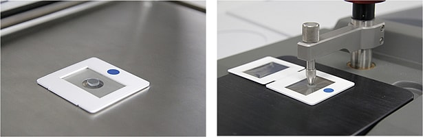 Using the EDXIR-Holder (Left: For Measurements with EDX; Right: For Measurements with FTIR)